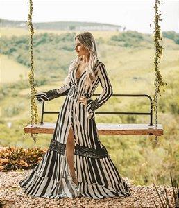 Vestido listras P&B (M) - Anne Fernandes
