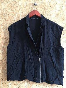 Blusa preta com zíper (M)  - Zara