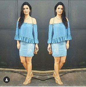 Blusa jeans ombro a ombro (G) - Zara