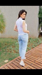 Blusa Tule Golinha branca (M) - Lamac NOVA