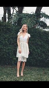 Vestido Curto Poa Botões branco (M) - Lamac NOVO