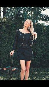 Short Saia linho preto (M) - Lamac NOVO