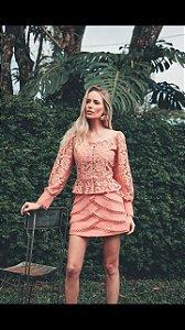 Blusa Ciganinha Renda Madrepérola rosa (G) - Lamac NOVA