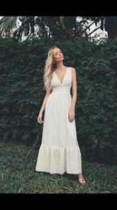 Vestido Longo Musseline Bordada off white - Lamac NOVO