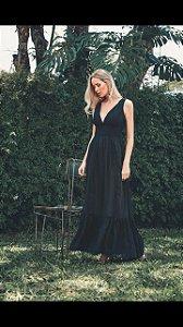 Vestido Longo Musseline Bordada preto (M) - Lamac NOVO