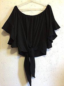 Blusa ciganinha preta (M) - Strass