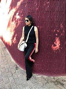 Calça pantalona preta listra (M) - Lira