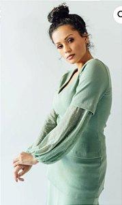 Blusa com manga tule - Basique NOVA