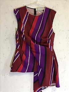 Blusa listrada vermelho e roxo (M) - Zara