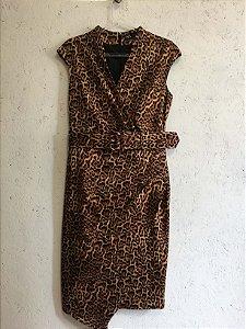 Vestido mídi  onça (G) - Zara NOVO
