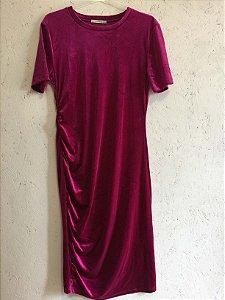 Vestido rosa veludo (G) - Zara NOVO