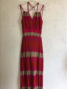 Vestido longo rosa com lurex (M) - Natália Pessoa