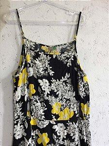 Vestido floral amarelo e preto  (G) - Farm