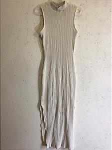 Vestido canelado malha bege (P)