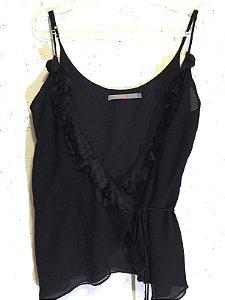 Camiseta preta babados seda (38) - Animale