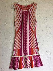 Vestido linha rosa e laranja (M) - Le Lis Blanc