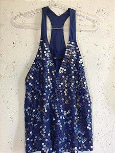 Regata azul e paetês (M) - Espaço Fashion