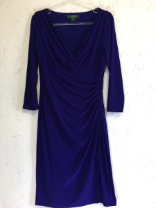 Vestido franzido (40) - Ralph Lauren