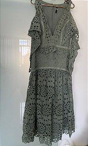 Vestido verde laise (40) - LN