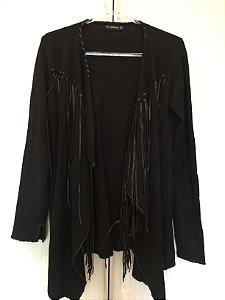Casaco preto com franjas M) - Zara