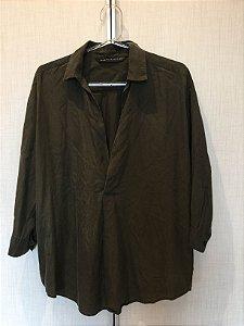 Camisa verde militar (M) - Zara