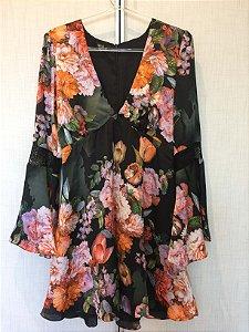 Vestido flores manga flare (P) - Apoá