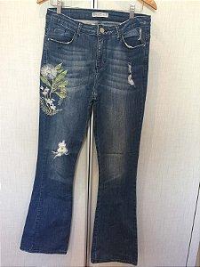 Calça jeans bordada (40) - Zara