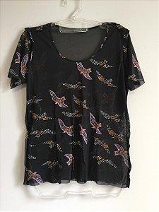 Blusa tule pássaros (G) - Patachou