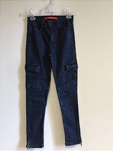Calça jeans cargo (38) - Maria filó