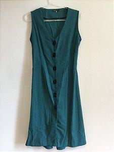 Vestido linho colete (P) - Aqua NOVO