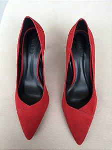 Sapato Scarpin camurça vermelho (37) - Amaro NOVO
