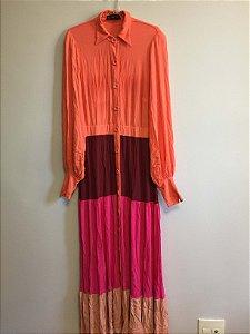 Vestido cores manga longa (M) - S.Club