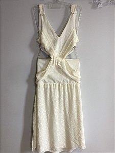 Vestido recortes off white (P)