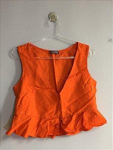 Blusa cropped linho laranja (P) - Fernanda Gardini