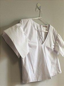 Blusa cropped branca (36) - Borda Barroca NOVA
