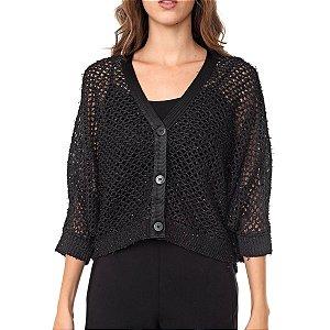 Casaco curto tricot rede leve brilho (P) - Maria Filó