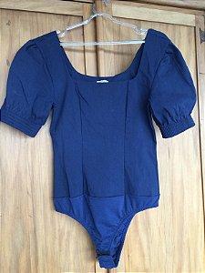 Body azul marinho manga curta (M) - Quintess
