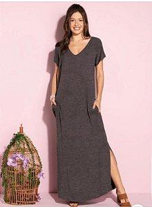 Vestido longo malha cinza (M) - Quintess
