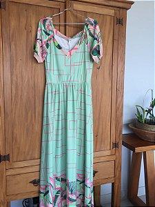 Vestido longo estampado verde água (M) - Quintess  NOVO