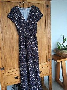 Vestido longo floral azul escuro (M)  - Quintess