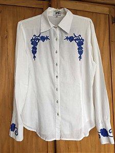 Camisa algodão detalhes azuis (M) - Iorane