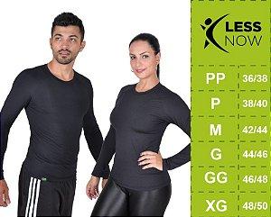 Camiseta Less Now Unissex Fator Proteção Solar 50 Uva/uvb PRETA