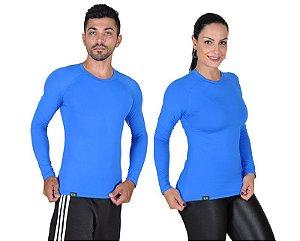 Camiseta Less Now Unissex Fator Proteção Solar 50 Uva/uvb Azul