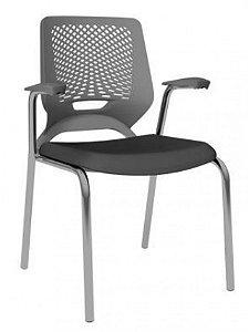 Cadeira Beezi Fixa Cromada com Braço