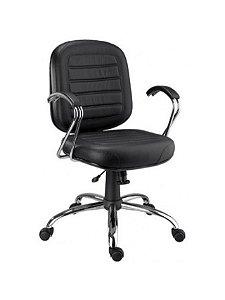 Cadeira Diretor Gomada Giratória Base e Braço Cromados