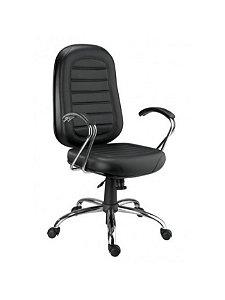 Cadeira Giratória Presidente Gomada com Base e Braço Cromados