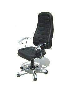 Cadeira Giratória Presidente com Base e Braço Cromados