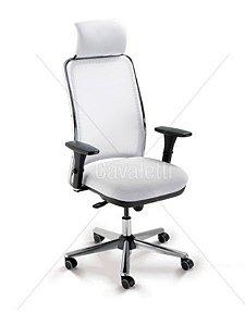 Cadeira Presidente Giratória Cromada NewNet Cavaletti