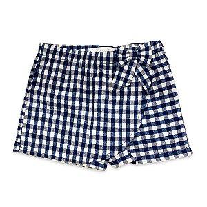 Shorts Saia Infantil Azul Xadrez
