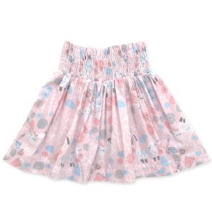 Saia Infantil Estampada - Fundo Rosa - Cintura Lastex